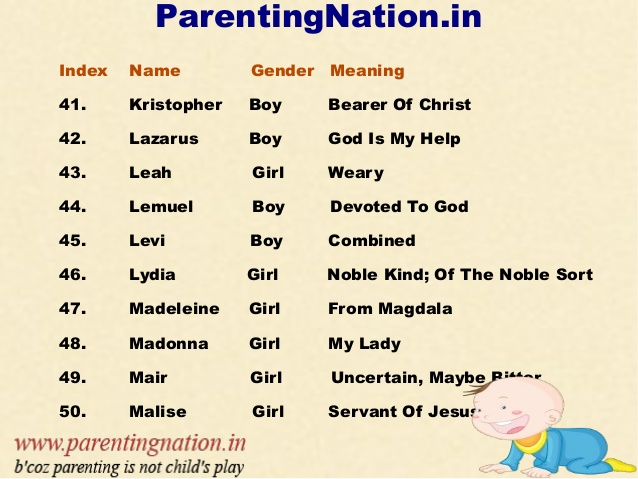 Excellent Baby Names And Meanings