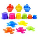 Large 14 pcs Pack of Bath Toys Play Set with Stacking Cups, Boats and Turtles
