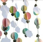 Parmay Pastel Clouds Hot Air Balloons Garland Up Up and Away Photo Prop Pack of 5