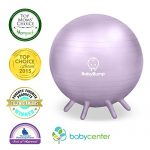 Baby Bump Birth Ball with Base Legs – Stability/Balance/Stand – Anti-burst – Pump – Exercise during Pregnancy – Prenatal Fitness – Induces Labor – Soothes Babies – Yoga Moms – Cute Practical Best Baby Shower Gift – 65 cm – Lifetime Guarantee – Lavender Purple
