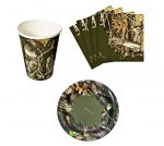 Next Camo Camping Birthday Party Supplies Set Plates Napkins Cups Kit for 16