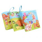 FunsLane Soft Cloth Baby Book 3-In-1 Baby First Book Non-Toxic Fabric Book