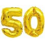 Giant 50th Gold Number Balloon – 40″ Premium Quality Latex Birthday Balloon Set – Perfect For Parties & Celebrations