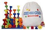 Best Stacking Pegboard Toy for Smart Toddlers, Great Montessori Educational Gift, 50 Pegs and Bonus Travel Bag, Ebook with Games and Pattern Cards for Kids