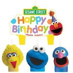 Party Time Sesame Street Molded Mini Character Birthday Candle Set, Pack of 4, Multi , 1.25″ Wax