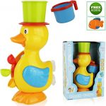 FUNERICA Big Duck Bath Toy for Toddler/Baby/Kids Ages 1 – 6. Bright Colors – Interactive and Fun – Educational Bathtub Toy for Girls & Boys! Included Bonus: Little Water-squirting Fish