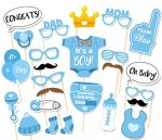 FunsLane 25 Pcs Photo Booth Props for Baby Shower Party, Party Favors Accessories with Diapers Glasses, Boy Version