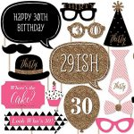Chic 30th Birthday – Pink, Black and Gold – Birthday Photo Booth Props Kit – 20 Count