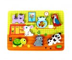 """Cute Pets Baby Animal Chunky Wooden Puzzle for Toddlers, Preschool Age w/ """"Easy-Hold"""" Colorful Solid Wood Pieces. Simple Educational & Sensory Learning for 1, 2 & 3 Year Olds"""