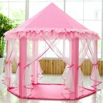 SkyeyArc Princess Playhouse With Lace, Kids Play Tent, Pink Play Castle, Toddler Tent, Great Gifts for Kids, Indoor Play Tents.