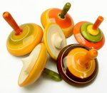 Lot of 6 pcs Handmade Painted Wood Spinning Tops Wooden Toys Vintage India Craft