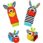 Baby Learning Fun – Animal Wrist and Sock Rattle Soft Developmental Toy Gift Set 4 Pcs – Zebra & Giraffe