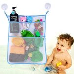 Bath Toy Organizer Bathroom Tub Storage – 3 Bonus Suction Cups Hook Machine Washable Blue
