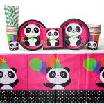 Panda-Monium Party Supplies Pack for 16 Guests Includes: Straws, Dessert Plates, Beverage Napkins, Cups, and Tablecover (Bundle for 16)