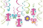 Amscan Sweet Birthday Girl 1st Birthday Value Pack Foil Swirl Decorations, Medium, Pink/Blue/Purple/Green