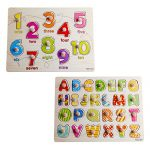 Home Learning Preschool Early Educational Develoment Colorful 26-Piece Alphabets and 10-Piece Number Wooden Peg Puzzle Bundle Shape Birthday Gift Toy for Child Children Kids Toddlers Baby Boys Girls