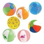 Inflatable 12″ Beach Balls (18-Pack) – 8 Rainbow Beach Balls, 10 Designer; Birthday Party Favors