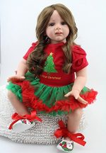 24inch Lifelike Christmas Reborn Baby Realistic Soft Silicone Toddler Girl Dolls Long Hair for Women Girls Gift by NPK