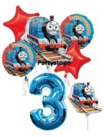 THOMAS THE TANK 3RD BIRTHDAY BALLOONS WITH 14″ MINI SHAPE BIRTHDAY PARTY BALLOONS BOUQUET DECORATIONS TRAIN