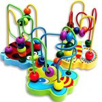 SMTSMT Colorful Wooden Mini Around Beads Educational Game Toy