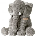 MorisMos Elephant Pillow Stuffed Animal Toy Plush Toy for Baby Children Kids Gift Grey 24 inch (60x45x25cm)