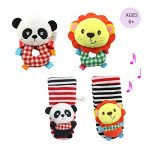 Daisy Infant Baby Soft Plush 4 Animal Wrists Rattle and Foot Finder Socks Set Best Gift Early Educational Development Toy for Boys and Girls – Lion and Panda