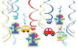 All Aboard! Birthday Party Value Pack Hanging Swirl Decorations, Multi Colored, Foil, Assorted Sizes, 12-Piece