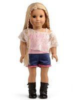 Sweet Dolly Doll Clothes Pink Lace Shirt & Tank Top & Shorts for 18 Inches American Girl Doll and More