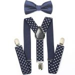 AWAYTR Kids Boys Girls Suspenders Strong Clips With Bow tie Set (Navy blue Polka dot)