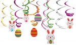 30Ct Easter Decorations Egg Bunny Hanging Swirl Foil — Party Ornaments Supplies