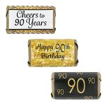 90th Birthday Party Decorations – Gold & Black – Stickers for Hershey's Miniature Bars (Set of 54)