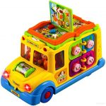 WolVol Activity Yellow School Bus Toy for Kids with Lights and Music, Rides on its own, Passengers Swing side to side, Lots of Functions & Learning the Animals (can turn off the sound while in action)