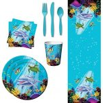 Ocean Party Table Wear Supplies Bundle, Including Table Cover, Dinner Plates, Paper Cups, Luncheon Napkins, and Cutlery for 8 Guests