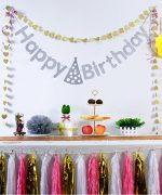 Koker Premium Sparkle Letters Pastel Happy Birthday Flag Banner Personalized, Glitter Vintage Party Pennant Tassels Bunting Garland, Silver