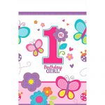 Sweet Girl 1st Birthday Flowers and Butterflies Plastic Table Cover Tableware, 54″ x 102″