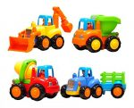 Set of 4 Cartoon Friction Powered Push & Play Vehicles for Toddlers – Dump Truck, Cement Mixer, Bulldozer, Tractor