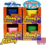 POOF-Slinky Original Plastic Slinky Jr. Blue, Green, Pink & Yellow Complete Gift Set Party Bundle – 4 Pack