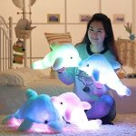 18″ Supper Cute Sea Animal Little Stuffed Toys, Sparkling Dolphin Plush Toy with Mix Color Changing LED Light (Pink, 45cm)