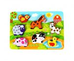 """Fun Barnyard Farm Animals Chunky Wooden Puzzle for Toddlers, Preschool Age w/ """"Easy-Hold"""" Colorful Solid Wood Pieces. Simple Educational & Sensory Learning for 1, 2 & 3 Year Olds"""