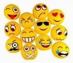 Set of 12 Water Squirting Emoji Face Squeezable Rubber Novelty Stress Balls