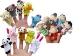FunsLane Story Time Finger Puppets Set 16 Pcs – 10 Animals and 6 People Family Members Puppets Toys