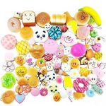 Random 12Pcs Colorful Mini Slow Rising Squishy Bread Bun Donuts Cute Face Phone Straps Charm Squeeze Toy