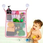 Bath Toy Organizer Bathroom Tub Storage – 3 Bonus Suction Cups Hook Machine Washable Pink
