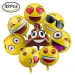 Party Balloons 18″ Emoticon Foil Balloons for Novelty Birthday Home Party Corporate Events Decoration , Pack of 32 pcs, Assortment