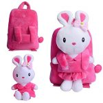 "Gloveleya Bunny Rabbit Plush Kid's Backpack Shoulder Bags 8"" for Kids Under 5 Years Old"