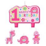 One Wild Girl 1st Birthday Party Molded Cake Candle Set Decoration, Pink, Wax, Pack of 4