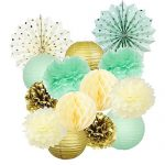 Mint Cream Gold Birthday Decoration Gold Polka Dot Paper Fan Tissue Paper Pom Pom Gold Paper Lantern Cream Honeycomb Balls for Baby Shower Decoration Bridal Shower Mint Gold First Birthday