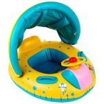 Here Fashion 1pcs Safety Baby Infant Swimming Float Inflatable Adjustable Sunshade Seat Boat Ring Swim Pool