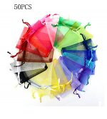 50PCS Drawstring Organza Pouch Strong Jewelry Wedding Christmas Favor Gift Bags Favor Gift Candy Bag (5 Color)