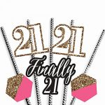 Finally 21 Girl Paper Straw Decor – 21st Birthday Party Striped Decorative Straws – Set of 24